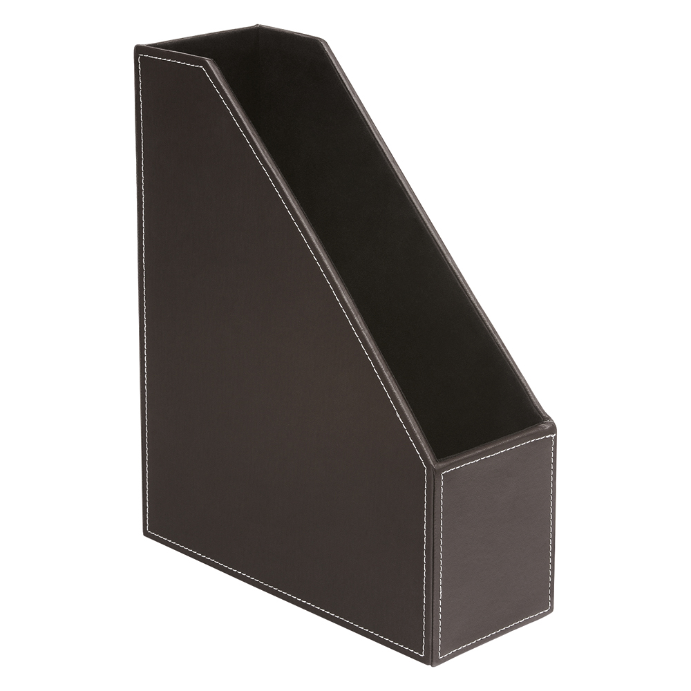 Business Premium Magazine File Faux Leather Brown
