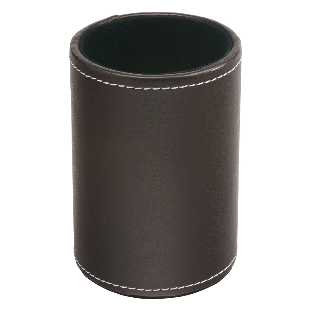 Business Premium Pen Holder Faux Leather Brown