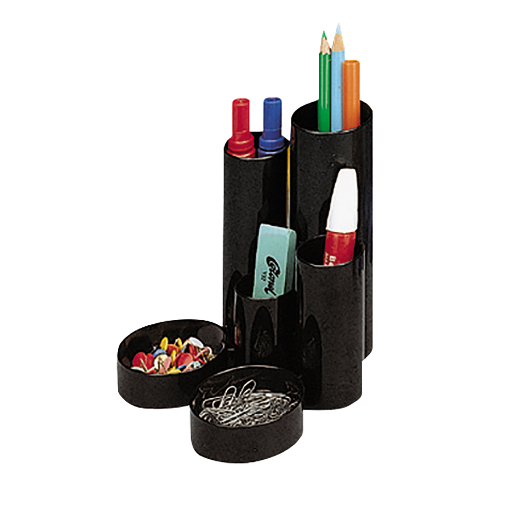Business Desk Tidy with 6 Compartment Tubes Black