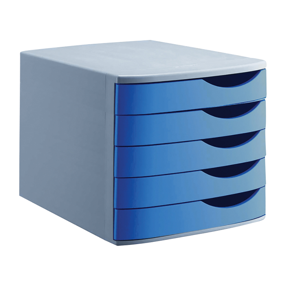 Image for Business Premium Desktop Drawer Set 5 Drawers A4 and Foolscap Grey/Blue