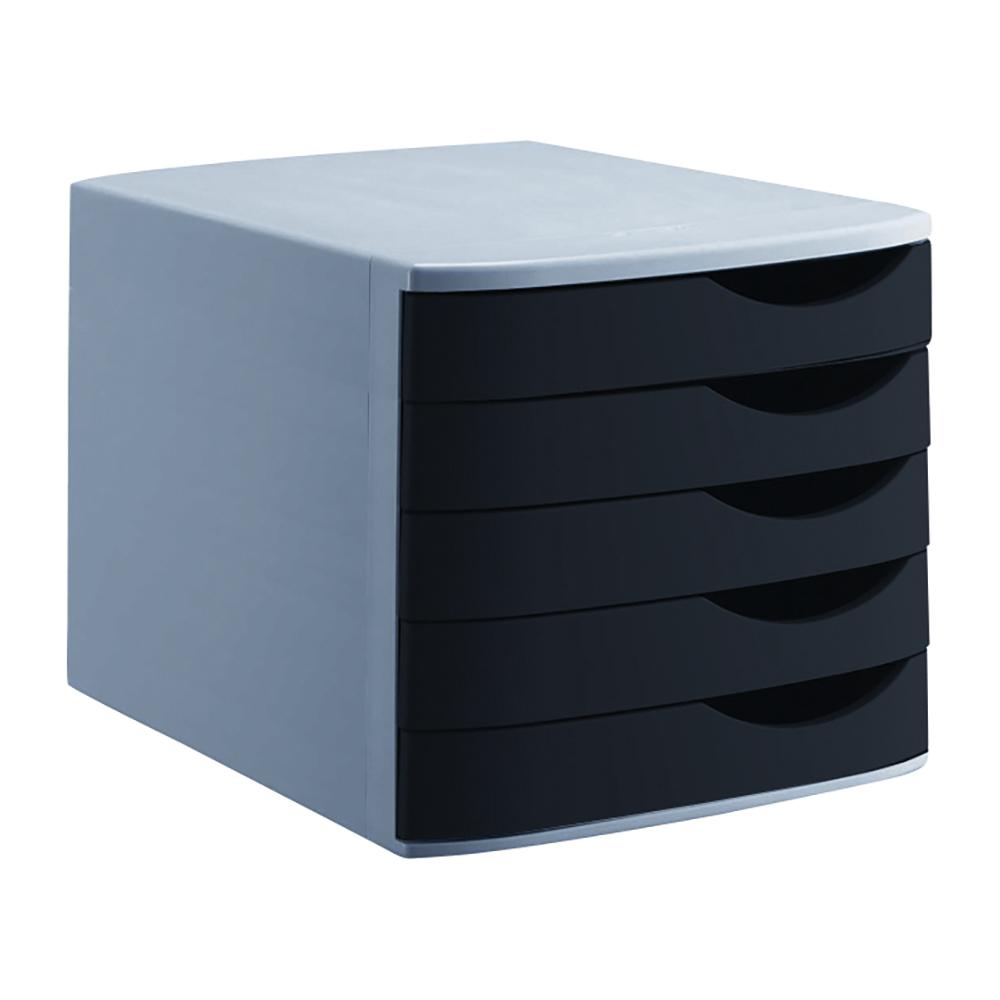 Image for Business Premium Desktop Drawer Set 5 Drawers A4 and Foolscap Grey/Black