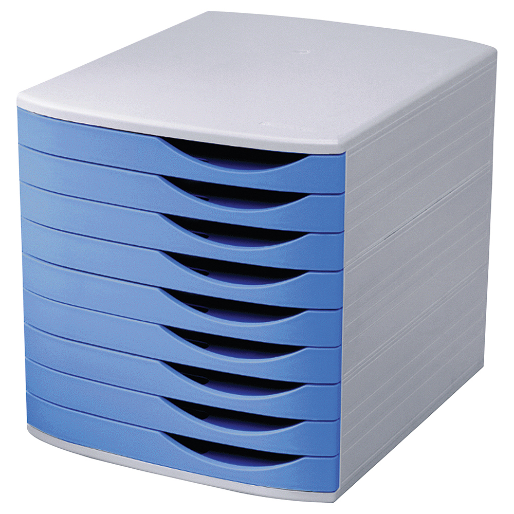 Image for Business Premium Desktop Drawer Set 9 Drawers A4 and Foolscap Grey/Blue