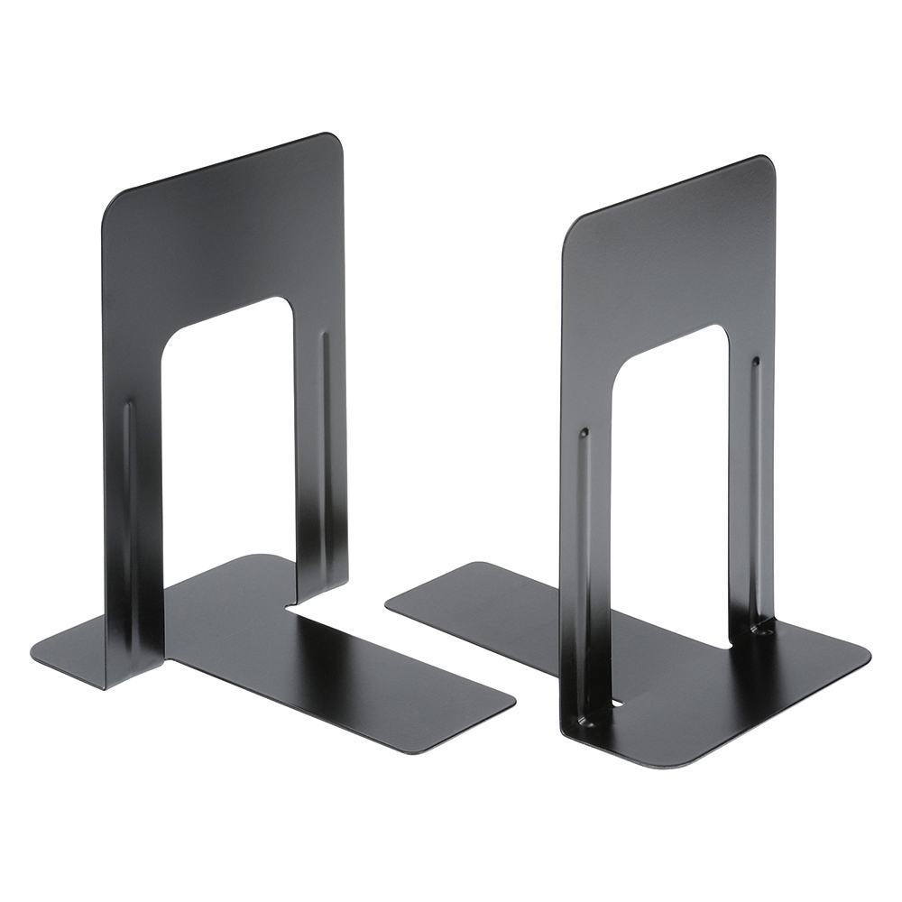 Business Bookends Metal Heavy Duty 224mm Black [Pack 2]