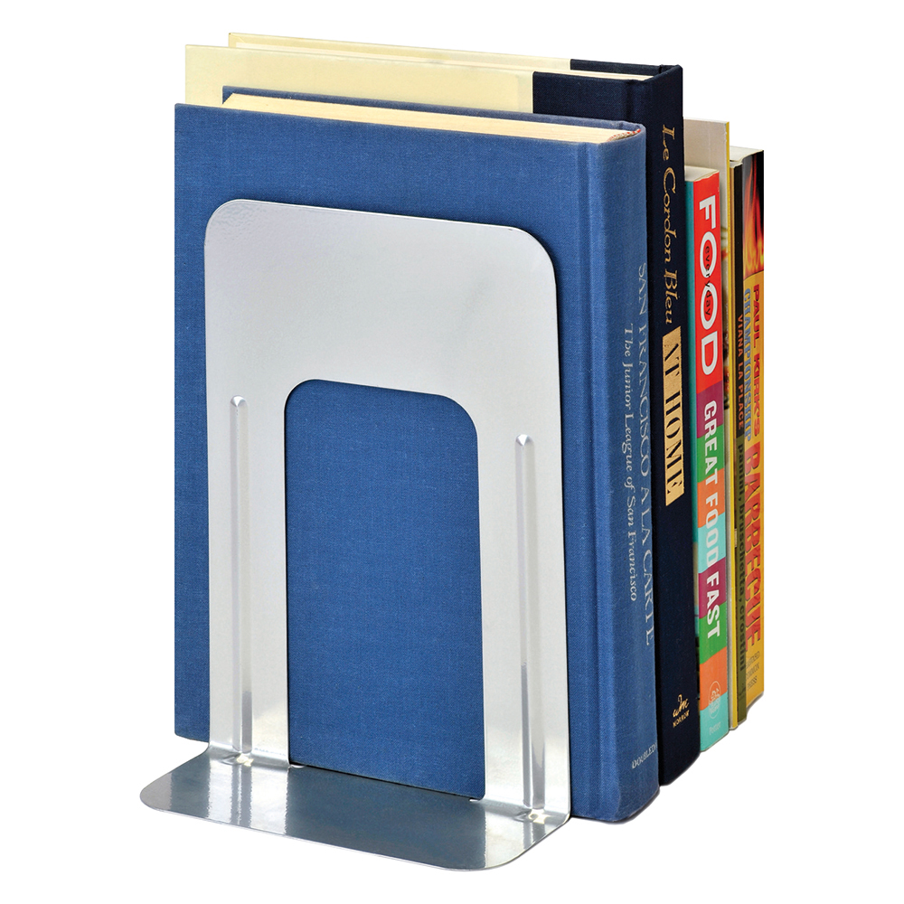 Image for Business Large Bookends Metal Silver [Pack 2]