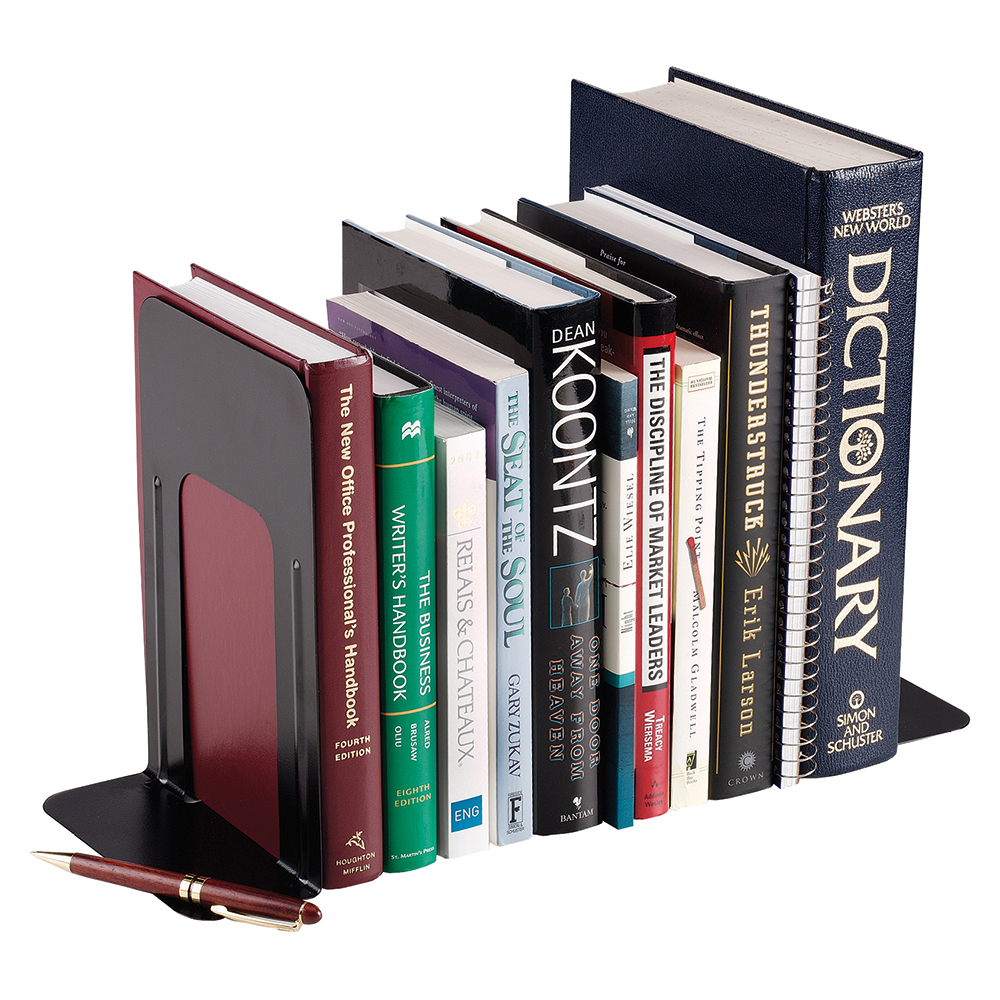 Business Metal Bookends 250mm Black (Pack of 2)
