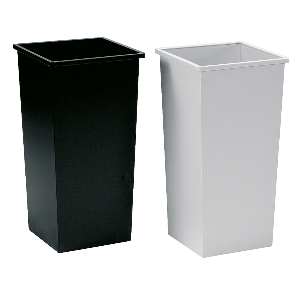Business Waste Bin Square Metal Scratch-resistant W325xD325xH642mm 48 Litres Black