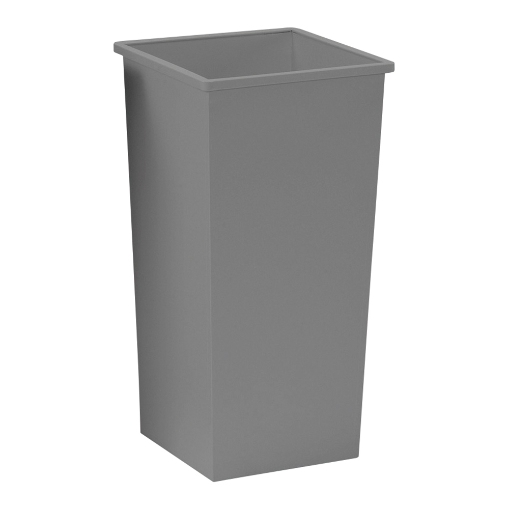Business Waste Bin Square Metal Scratch Resistant 48 Litres 325x325x642mm Silver Metallic