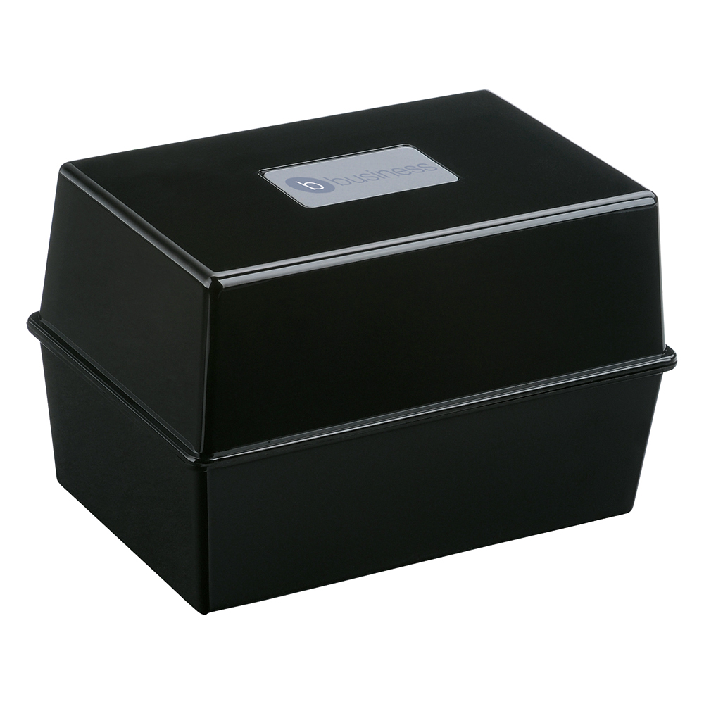 Image for Business Card Index Box Capacity 250 Cards 6x4in 152x102mm Black