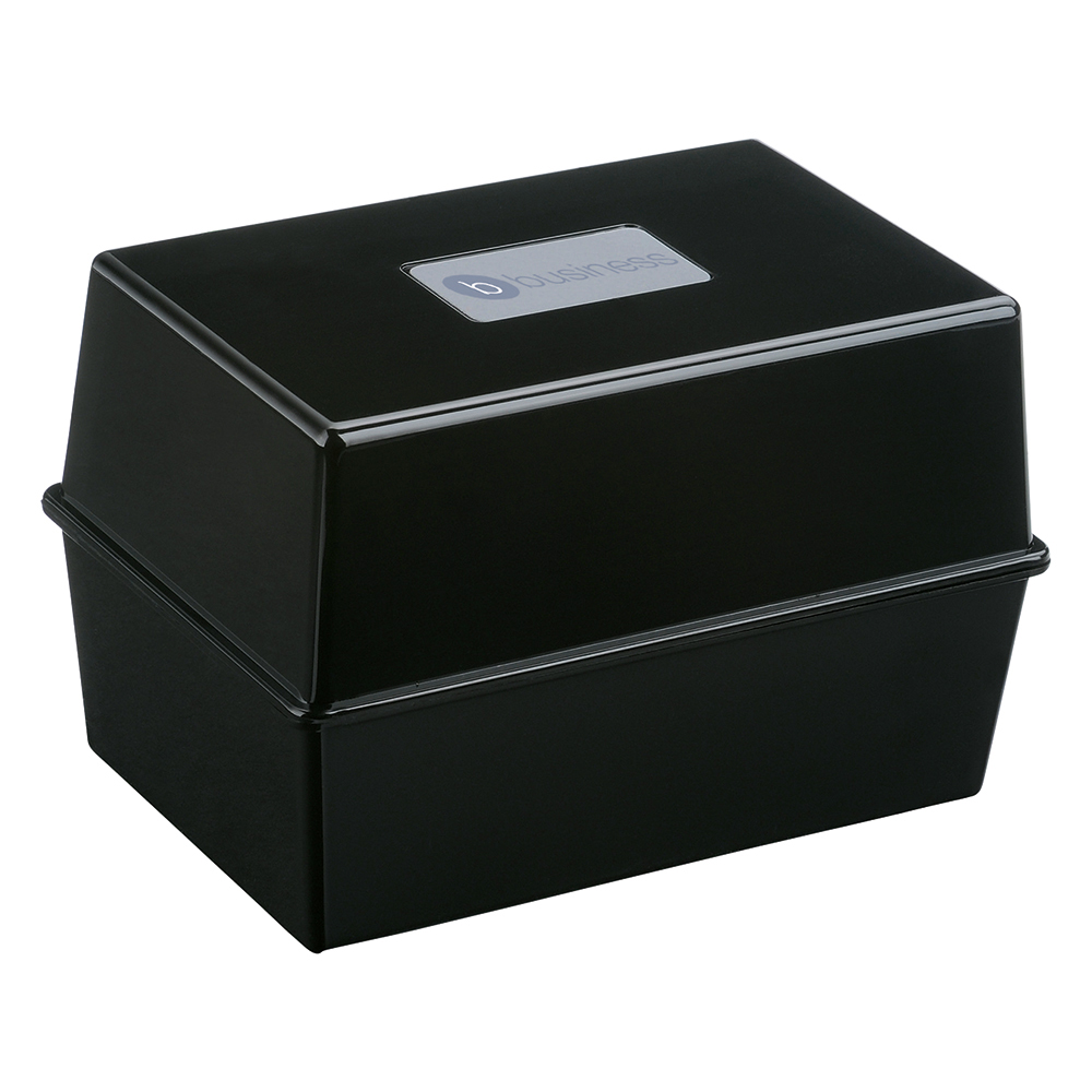 Image for Business Card Index Box Capacity 250 Cards 8x5in 203x127mm Black
