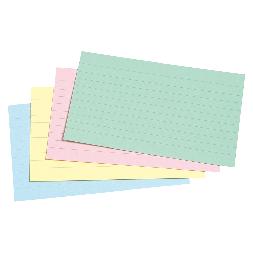 Image for Business Record Cards Ruled Both Sides 5x3in 127x76mm Assorted [Pack 100]