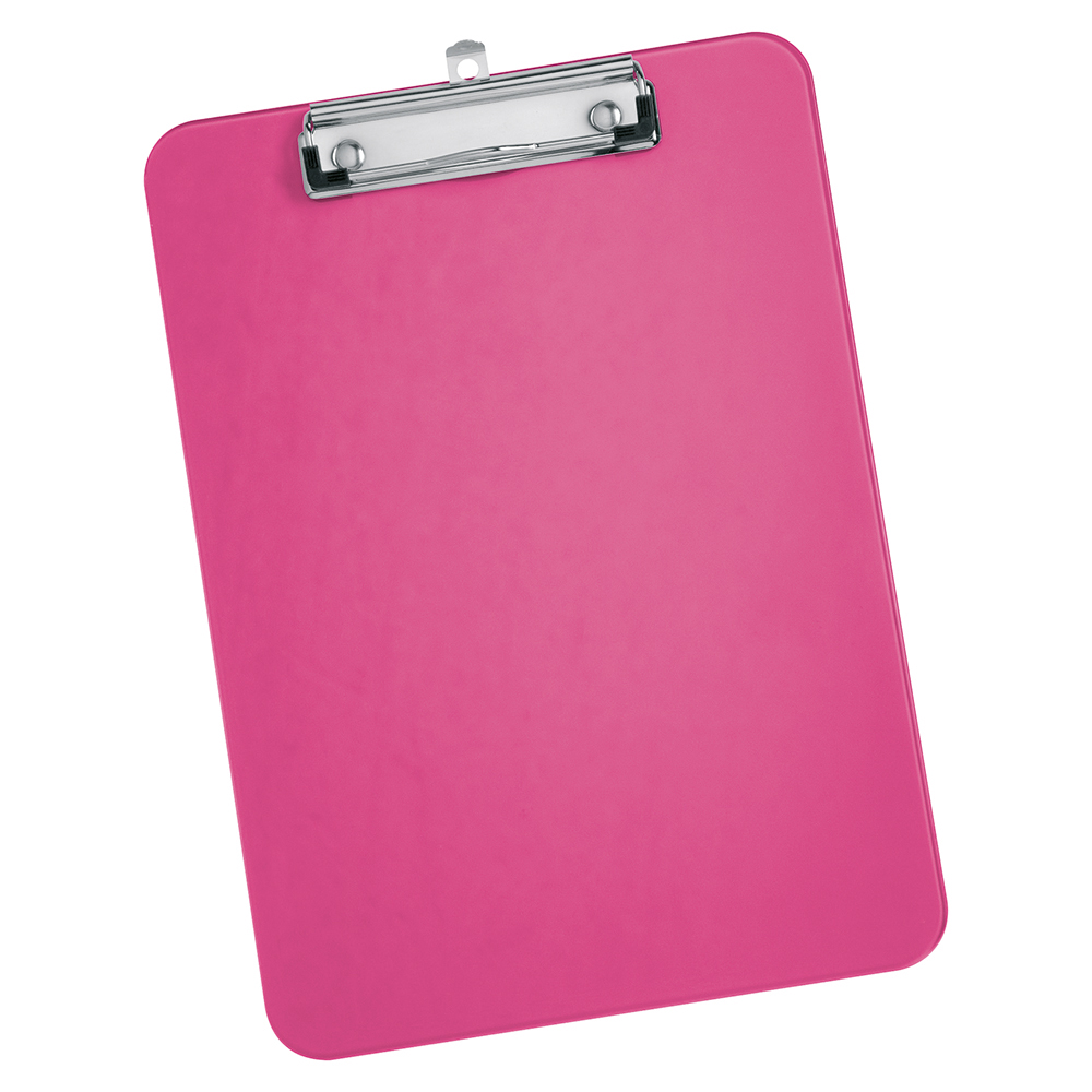Image for Business Clipboard Solid Plastic Durable with Rounded Corners A4 Pink