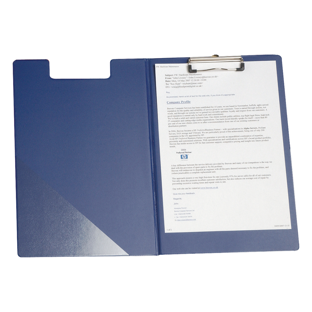 Image for Business Fold-over Clipboard with Front Pocket Foolscap Blue