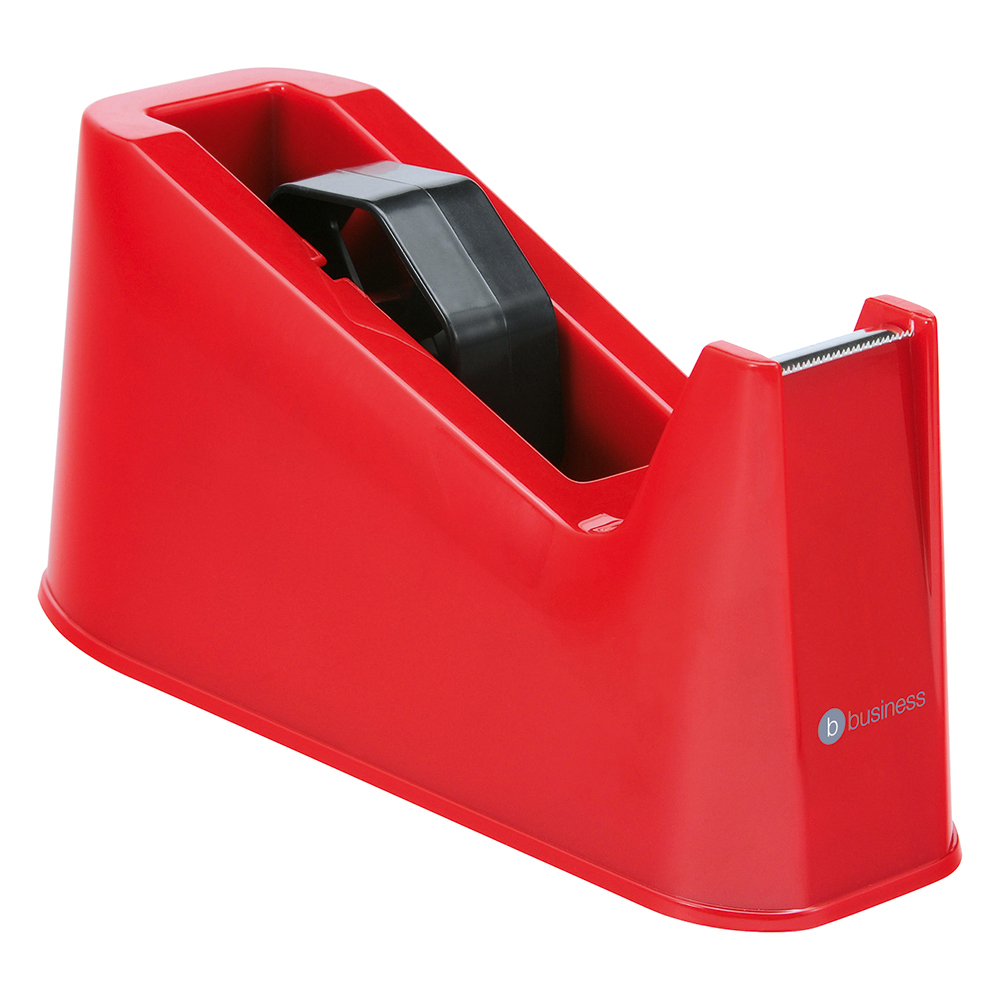 Image for Business Tape Dispenser Desktop Weighted Non-slip Roll Capacity 25mm Width 66m Length Red