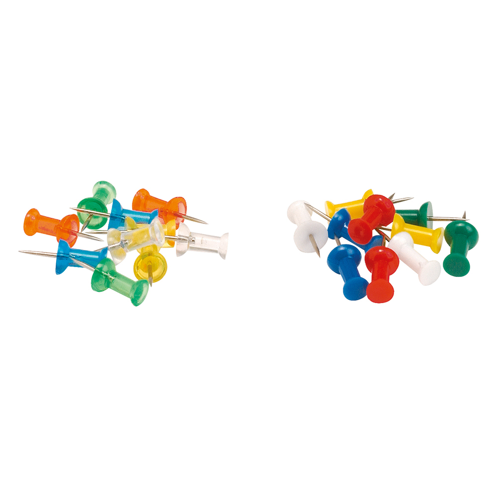 Image for Business Push Pins Assorted Opaque [Pack 20]