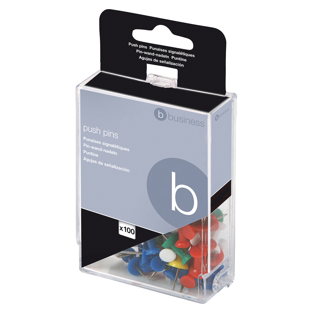 Business Push Pins Assorted Opaque [Pack 100]