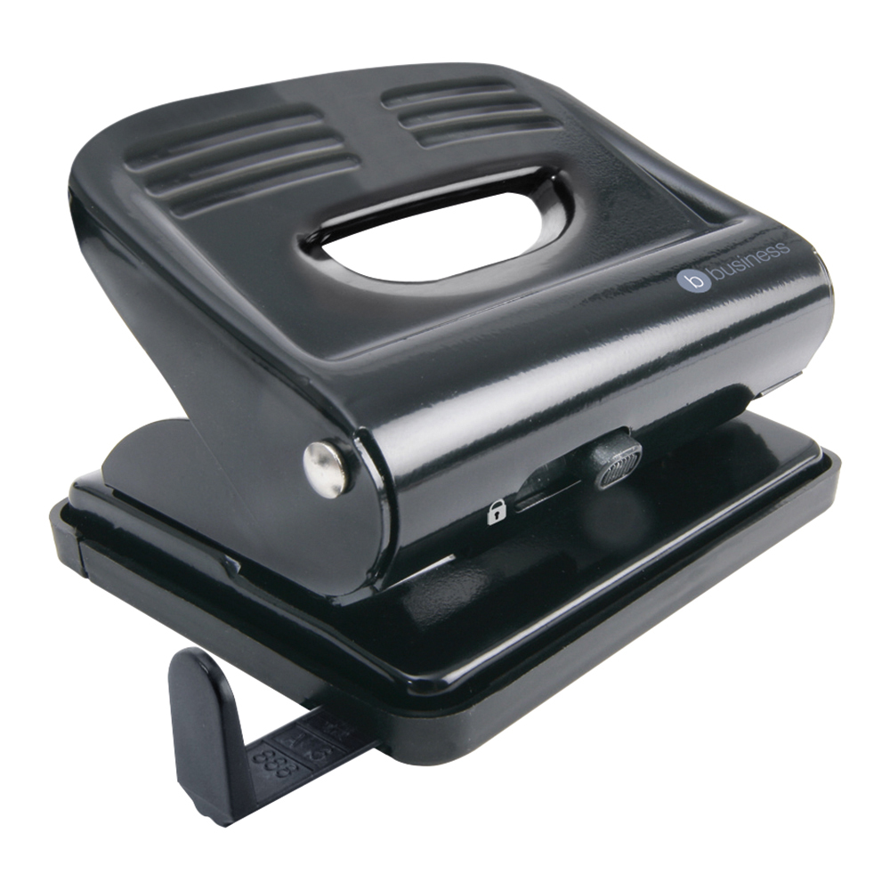 Image for Business Punch 2-Hole Plastic Base Metal Handle Capacity 18x 80gsm Black