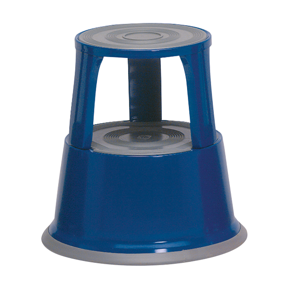 Image for Business Step Stool Mobile Spring-loaded Castors Max 150kg Top D290xH430xBase D435mm 5kg Blue
