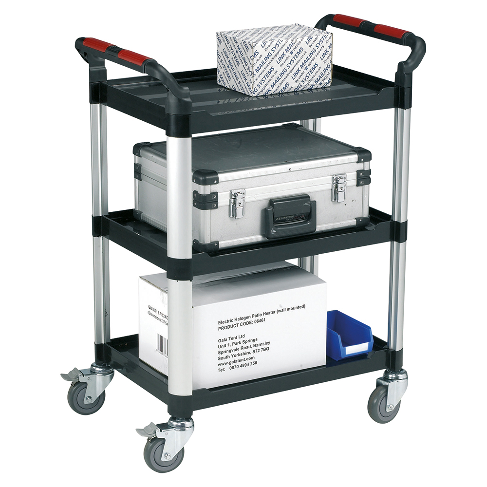 Image for Business Utility Tray Trolley Standard 3 Shelf Capacity 150kg