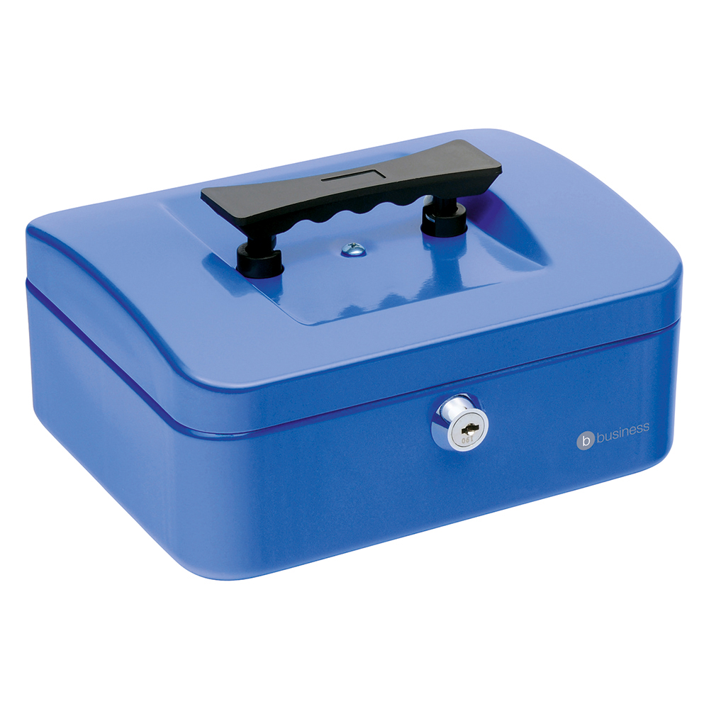 Business Cash Box with 5-compartment Tray Steel Spring Lock 8 Inch W200xD160xH70mm Blue
