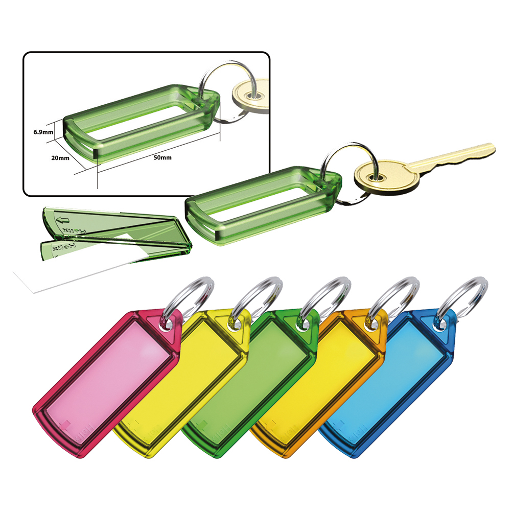 Image for Business Key Hanger Sliding with Fob Label Area 25x20mm Small Tag 45x28mm Assorted [Pack 100]
