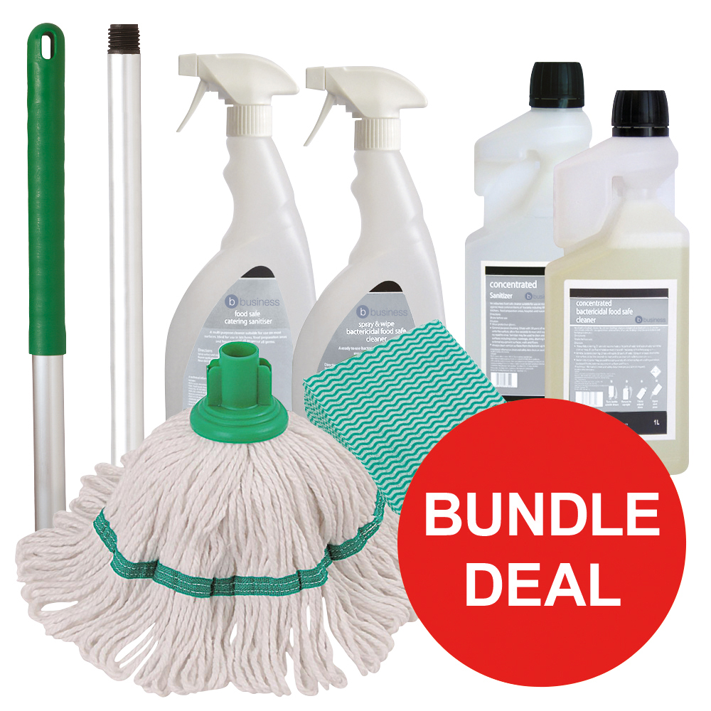 Business Kitchen Cleaning Bundle with Mop/Cloths/Cleaning Fluids [Bundle Offer]