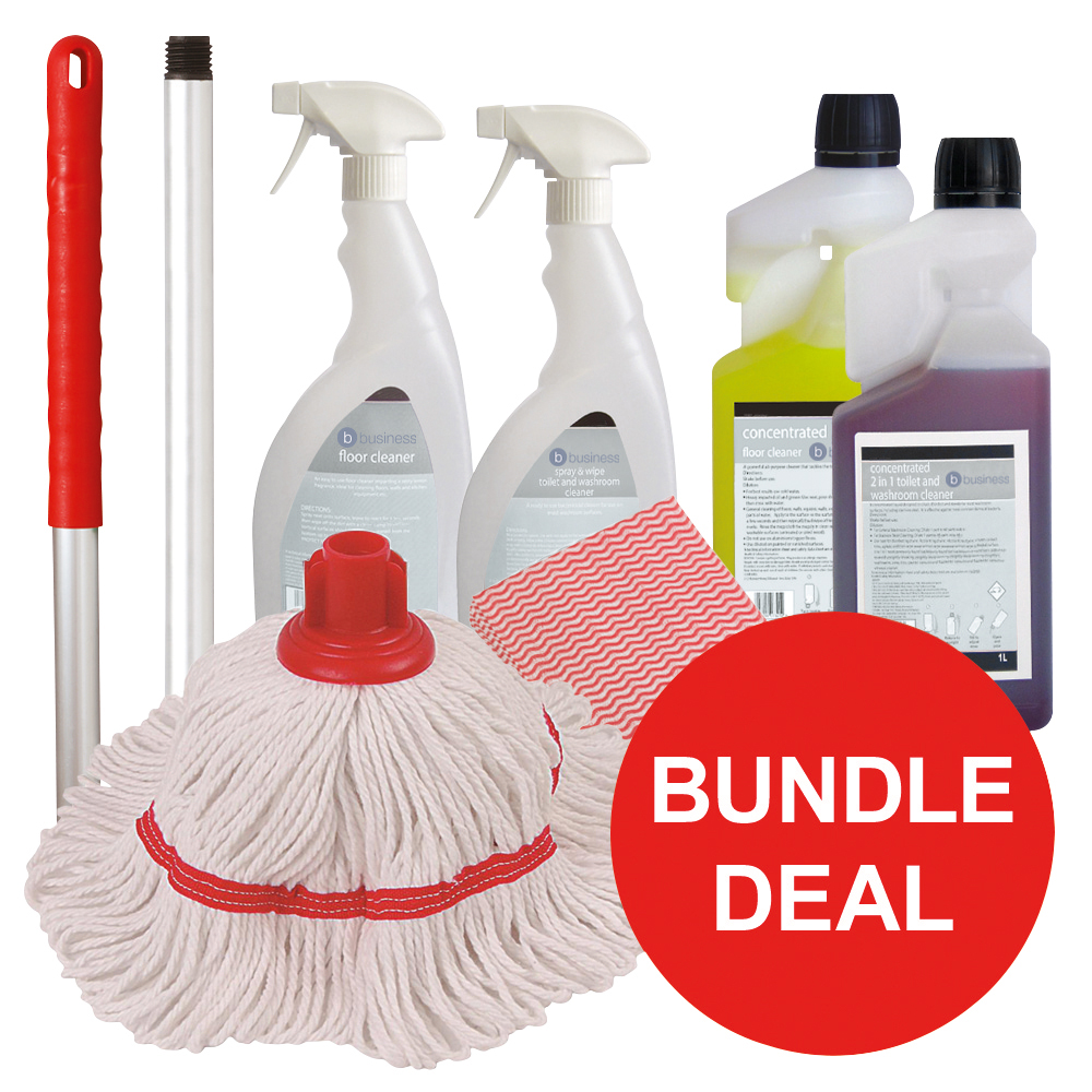 Business Washroom Cleaning Bundle with Mop/Cloths/Cleaning Fluids [Bundle Offer]