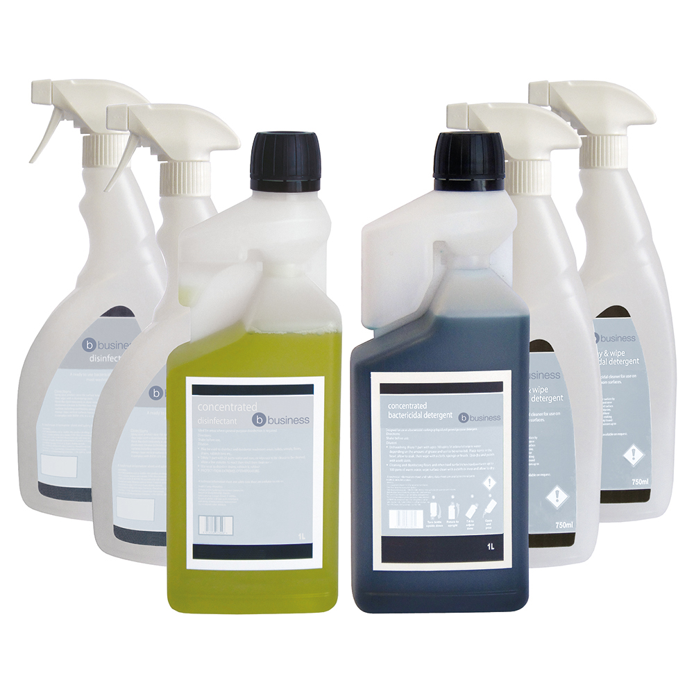Business Disinfectant & Bactericidal Detergent Concentrated 1 Litre [FREE 750ml Trigger Bottles]