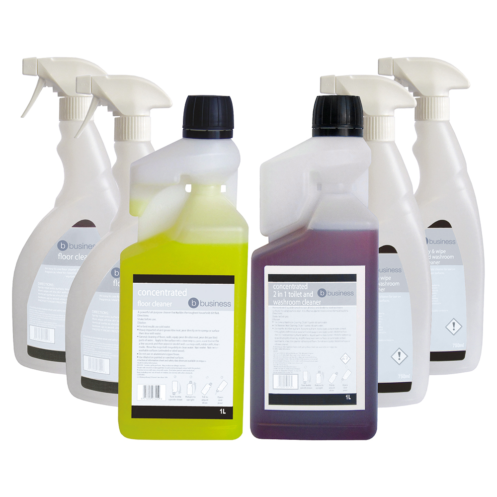 Business Floor Cleaner & 2-in-1 Toilet & Washroom Cleaner 1 Litre [FREE 750ml Trigger Bottles]