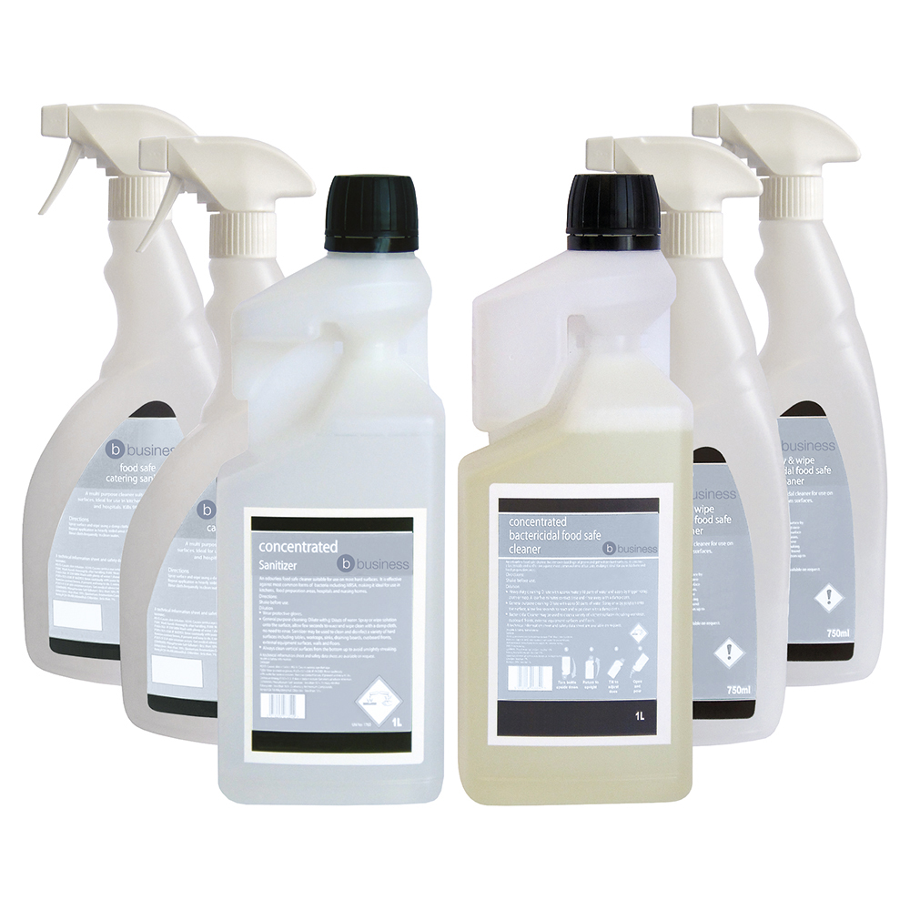 Business Food Safe Sanitiser & Bactericidal Cleaner 1 Litre [FREE 750ml Trigger Bottles]