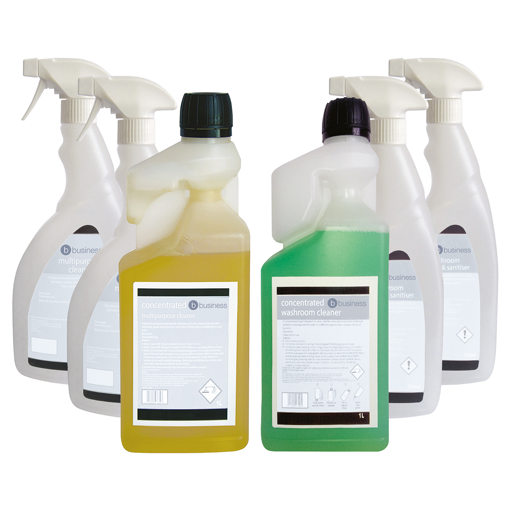 Business Multipurpose Cleaner & Washroom Cleaner 1 Litre [FREE 750ml Trigger Bottles]