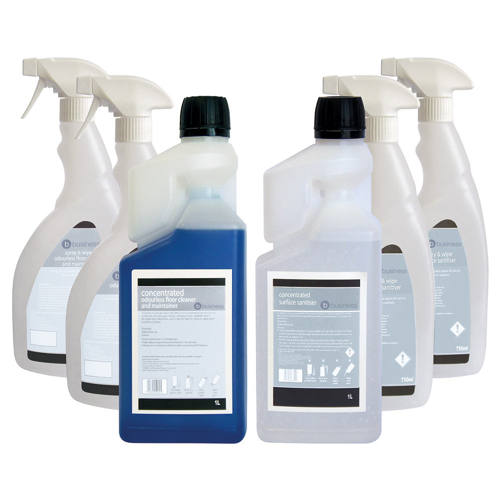 Business Odourless Floor Cleaner & Surface Sanitiser 1 Litre [FREE 750ml Trigger Bottles]