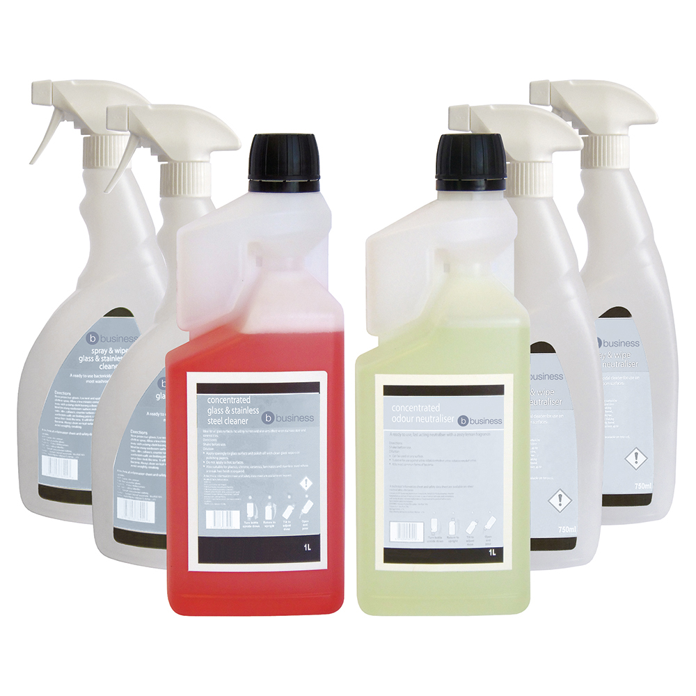 Business Glass/Stainless Steel Cleaner & Odour Neutraliser 1 Litre [FREE 750ml Trigger Bottles]