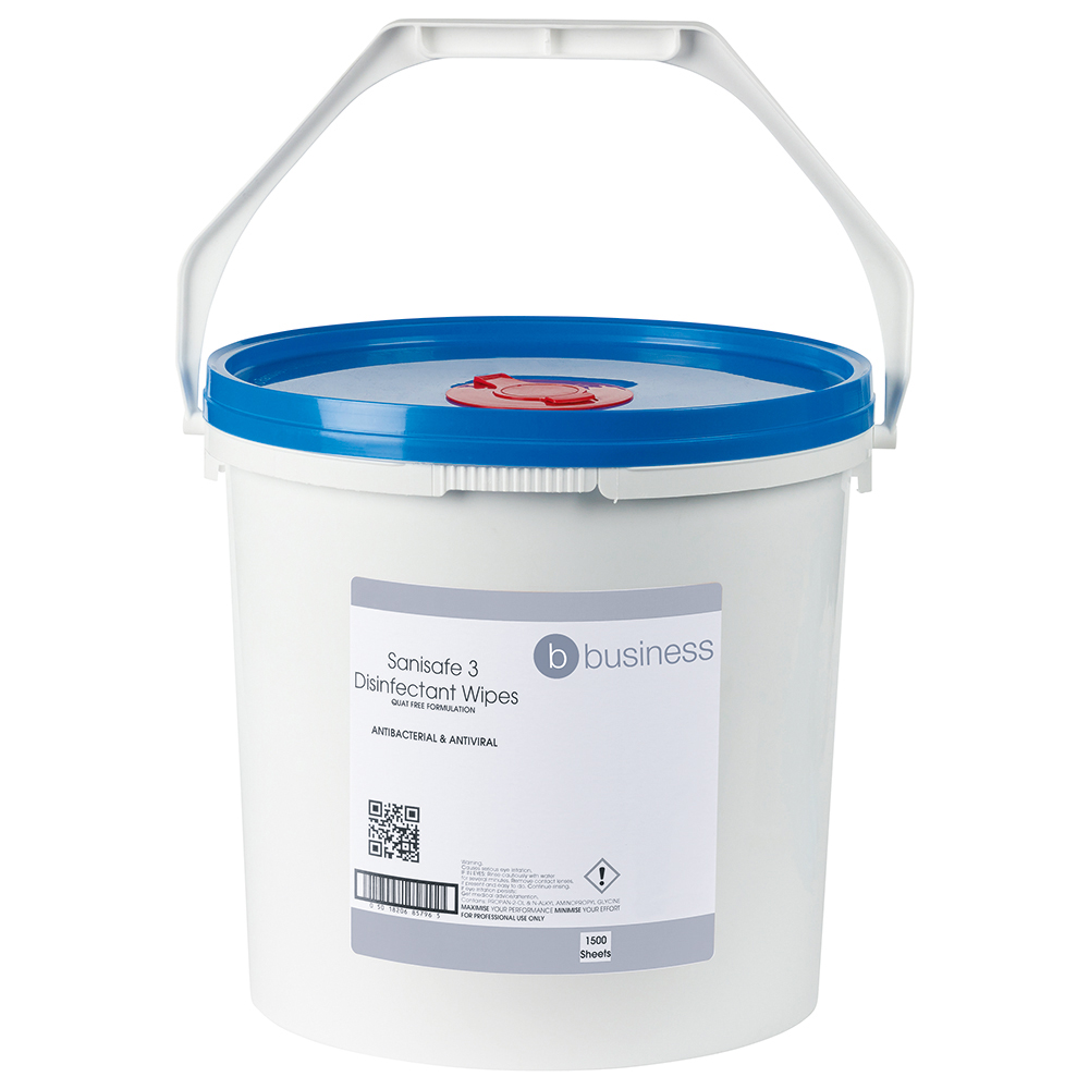 Business Disinfectant Wipes Anti-bacterial PHMB-free BPR Low-residue 19x20cm [Tub 1500 Sheets]