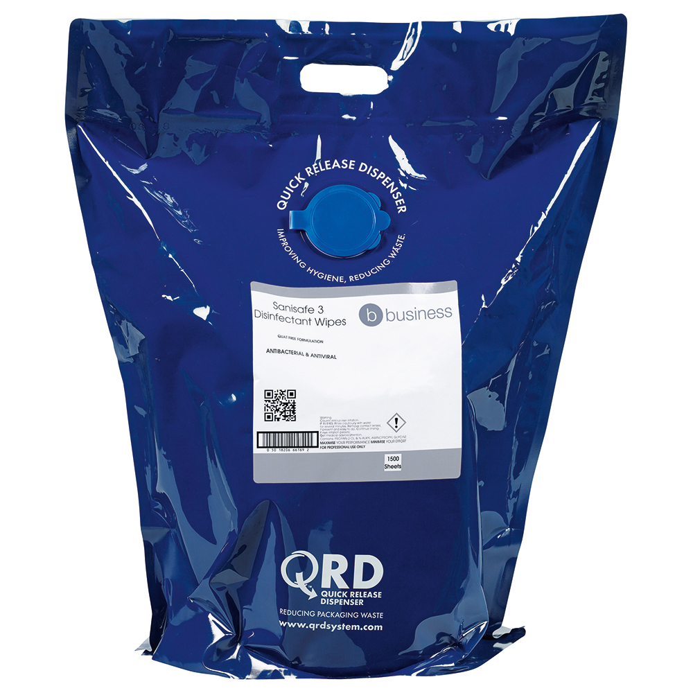 Business Disinfectant Wipes Anti-bacterial PHMB-free BPR Low-residue 19x20cm [Bag 1500 Sheets]