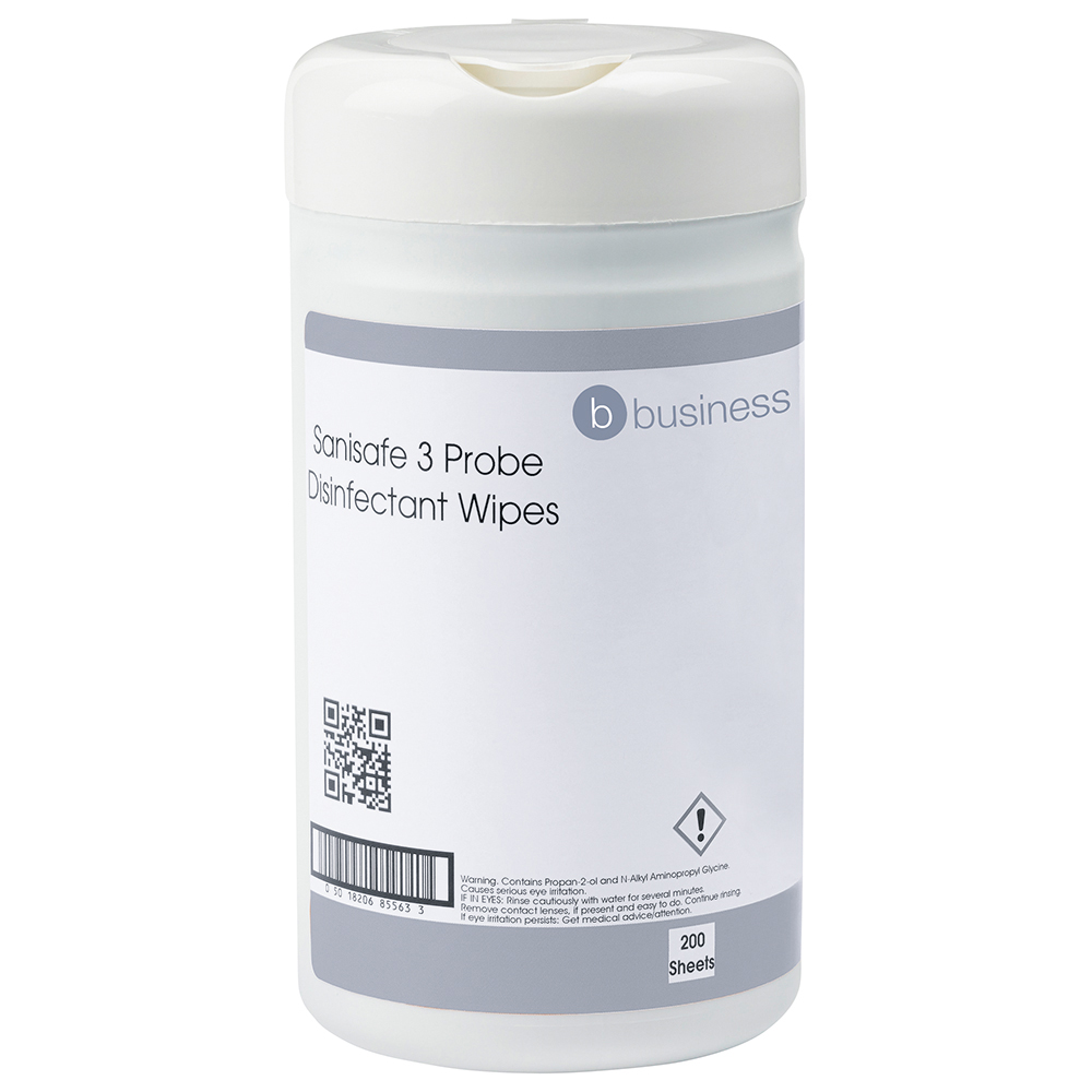 Business Probe Disinfectant Wipes Anti-bac PHMB-free BPR Low-residue 13x13cm [Tub 200 Sheets]