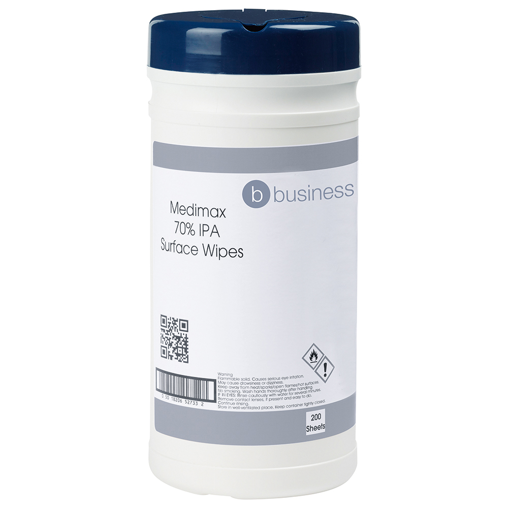 Business Medimax 70 per cent IPA Surface Wipes Anti-bacterial 20gsm 20x20cm [Tub 200 Sheets]