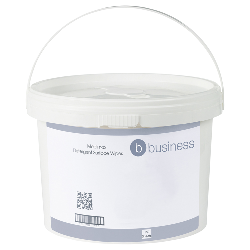 Business Medimax 70 per cent IPA Surface Wipes Anti-bacterial 28gsm 28x28cm [Tub 150 Sheets]