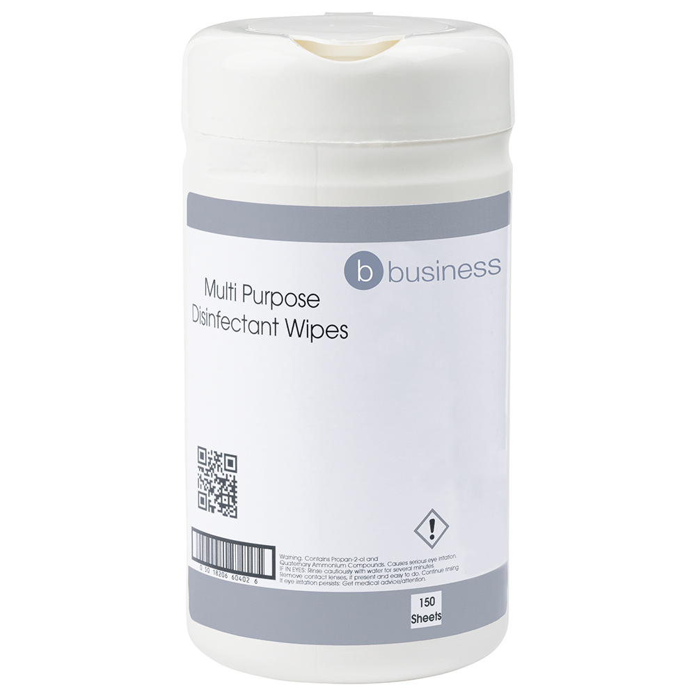 Business Multipurpose Disinfectant Wipes Anti-bacterial 23gsm 13x13cm [Tub 150 Sheets]