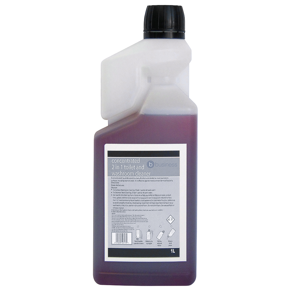 Business Concentrated 2 In 1 Toilet and Washroom Cleaner 1 Litre