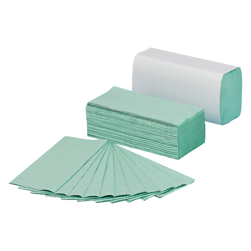 Business Hand Towel C-Fold 1-ply Recycled Size 230x310mm 144 Towels Per Sleeve Green [Pack 20]