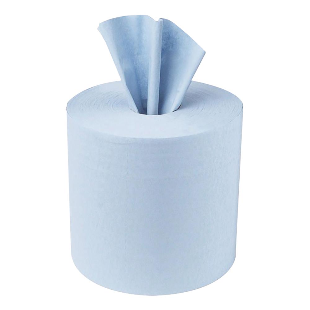 Business Centrefeed Tissue Refill for Jumbo Dispenser Single-ply L300mxW200mm Blue [Pack 6]