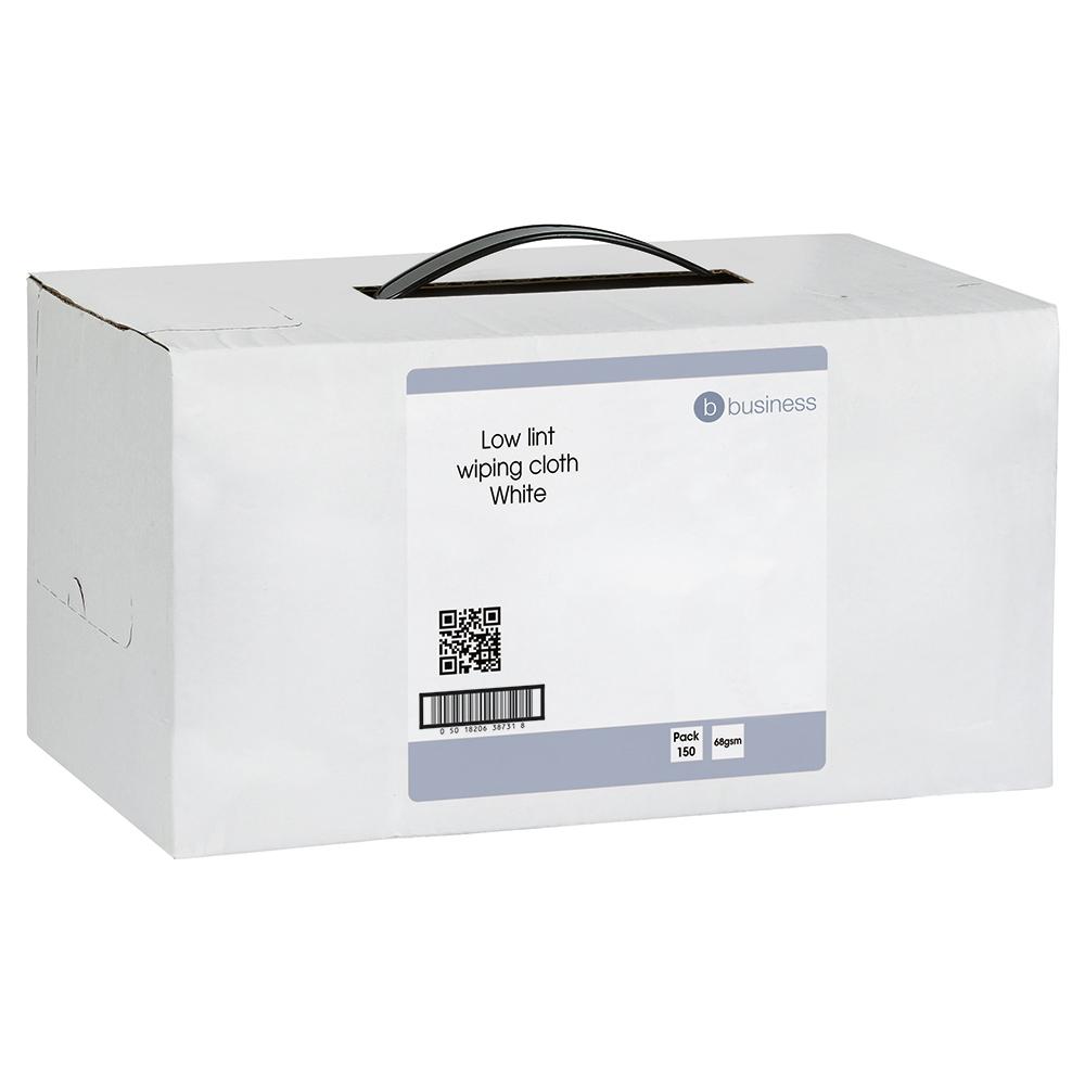 Business Cloths Low Lint Dispenser Box Multipurpose Solvent-resistant 30x36cm White [Box 150]