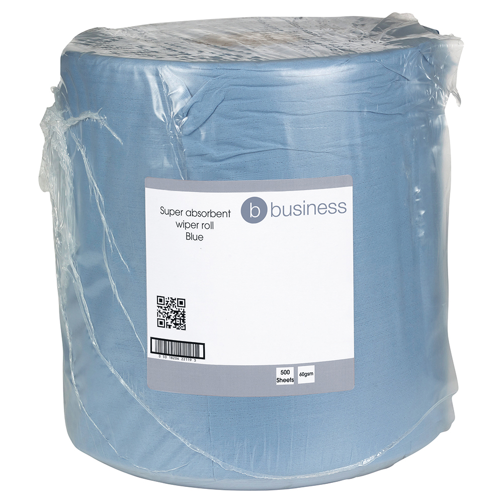 Business Cloths Super Absorbent Low Lint Solvent-resistant 60gsm 30x36cm Blue [Roll 500]