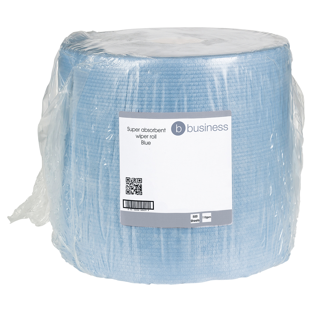 Business Cloths Super Absorbent H/Duty Low Lint Solvent-resistant 110gsm 30x36cm Blue [Roll 500]