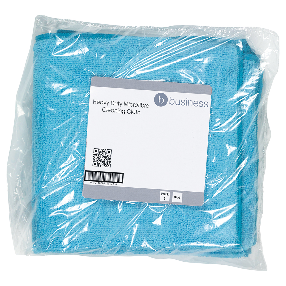 Business Microfibre Cloth Premium Reusable Edge Bonded W400xL400mm 250gsm Blue [Pack 5]