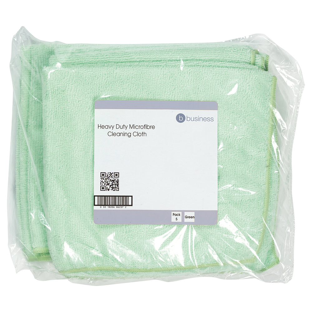 Business Microfibre Cloth Premium Reusable Edge Bonded W400xL400mm 250gsm Green [Pack 5]