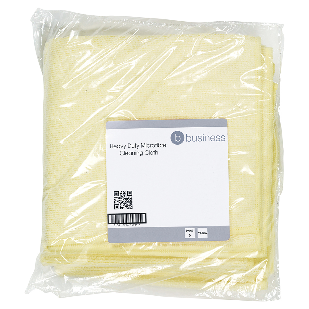 Business Microfibre Cloth Premium Reusable Edge Bonded W400xL400mm 250gsm Yellow [Pack 5]