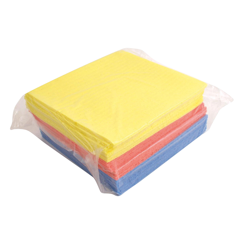 Business Sponge Cloths Cellulose W180xL180mm Assorted Colours [Pack 18]