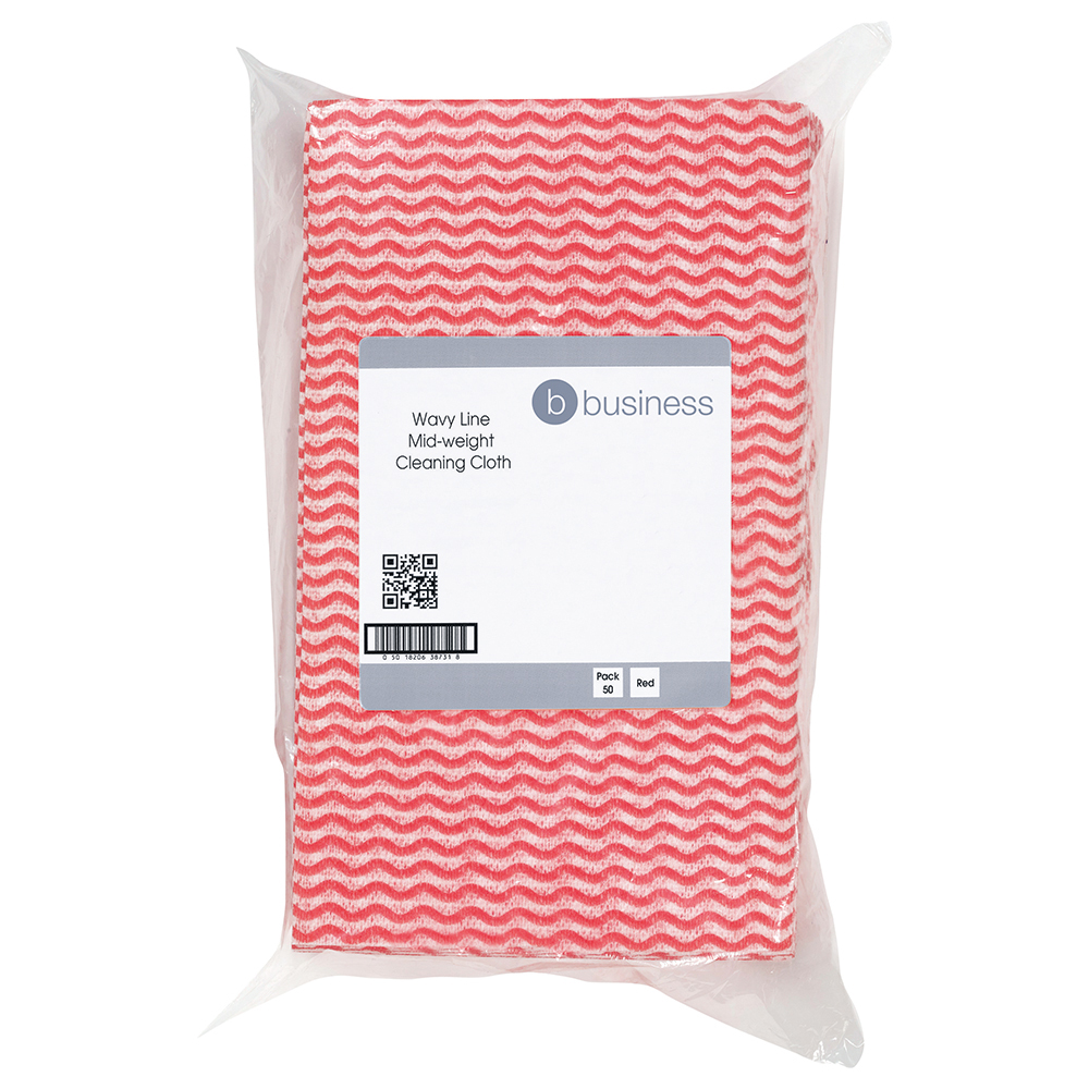 Business Cleaning Cloths Anti-microbial 40gsm W500xL300mm Wavy Line Red [Pack 50]
