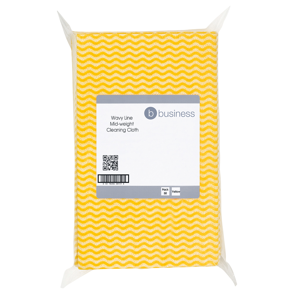Business Cleaning Cloths Anti-microbial 40gsm W500xL300mm Wavy Line Yellow [Pack 50]